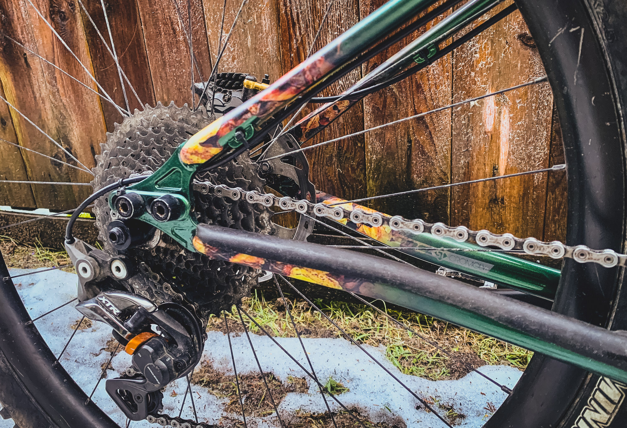 18b4d85134c ... Matt kicks that off with a set of Light Bike carbon rims laced to a set  of Industry 9 Torch hubs. The fork is a 130m Pike with One Up's tool-less  axle.
